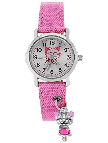 Pacific Time Kinder Armbanduhr Mädchen funkelnder Anhänger Katze am Textilarmband rosa Analog Quarz 87255