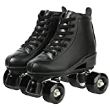 XUDREZ Classic Roller Skates High-Top Double-Row Leather Roller Skates for Women and Men (Black Black Wheel,8.5)