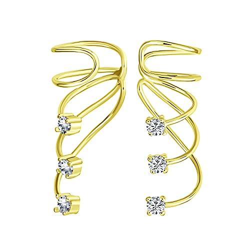 Minimalist Triple Spiral CZ Wire Cartilage Ear Cuff Wrap Cubic Zirconia Helix Earring 14K Gold Plated Sterling Silver