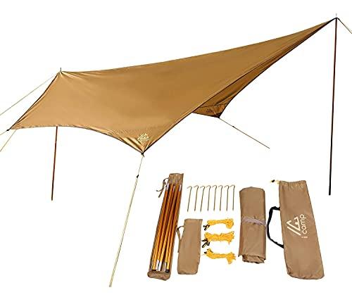 icamp(アイキャンプ) ソロタープ tarp one ペンタゴン タープ 軽量1.6kg アルミニウム合金ポール2本付 ソロキャンプ (アイキャンプ ゴールド)