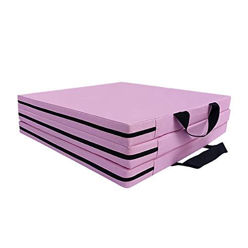LXHONG Alfombra De Gimnasio Antideslizante, 3 Almohadilla Plegable, Alfombra De PU para Ejercicio Fácil De Llevar para Sala Balcón, Fácil De Almacenar (Color : Pink, Size : 50X150X5CM)