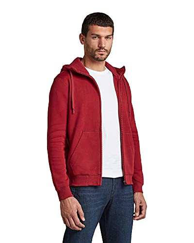 G-STAR RAW Premium Core Hooded Zip Felpa con Cappuccio, Rosso (Chateaux Red C235-1330), M Uomo