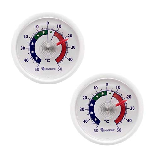 Lantelme Termómetro de refrigerador 2 pcs. Juego analógico Autoadhesivo Termómetro de congelador 4656
