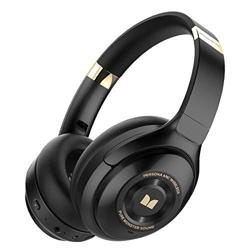 Monster Persona Noise Cancelling Kopfhörer,Bluetooth 5.0 Kabellose Kopfhörer USB-C Schnellladen,30+ Std,Faltbar,ANC Headset Bluetooth mit Mikrofon für iPhone/ipad/Android/Laptops.