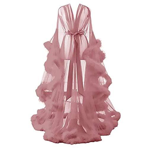 CAICAIL Frauen Durchsichtige Sexy Feder Ausgestellte Ärmel Robe Sexy Feder Brautkleid Tüll Illusion Boudoir Feder Brautkleid,2
