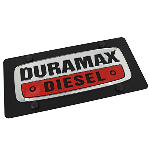 GM Duramax Diesel Logo On Carbon Black Stainless Steel License Plate