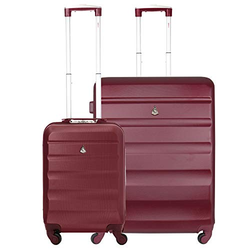 Aerolite Super Lightweight ABS Hard Shell Travel Suitcase Luggage Set with 4 Wheels (Cabin + Medium, Wine)