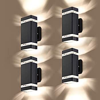 LMP 4 Pack LED Square Up and Down Lights Outdoor Wall Light,Body in Aluminum Waterproof Outdoor Wall Lamps,3000k 5W with Certificate ETL