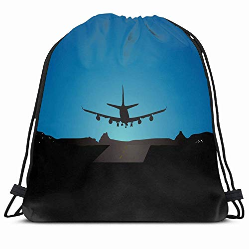 DHNKW Drawstring Backpack String Bag 14x16 Runway Plane Landing Fly Sky Mountain View House Airport Aircraft Night Airplane Aeroplane Air Airliner Bird Sport Gym Sackpack Hiking Yoga Travel Beach