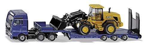 Siku 1790, MAN-LKW mit Tieflader und JCB Radlader, 1:87, Metall/Kunststoff, Blau/Gelb, Klappbare Auffahrrampe, Beweglicher Ladearm