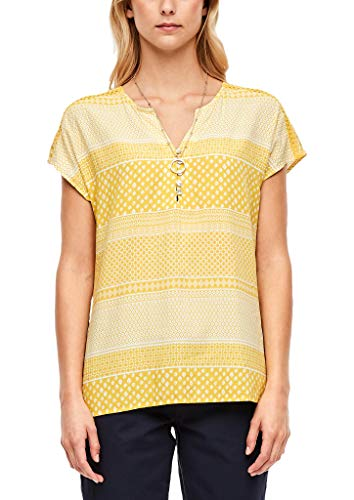 s.Oliver RED LABEL Damen Oversize Bluse mit Muster yellow stripes AOP 46