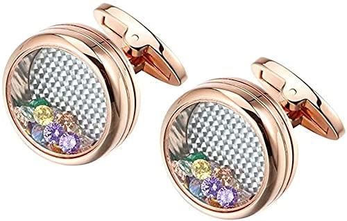 ALOMIN 2 gemelos de circonita de colores para hombre, bodas, novios, redondos, con cristales multicolores, elegantes botones de personalidad (color oro rosa)