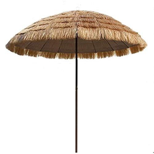 Sombrilla Parasol con Ángulo Ajustable 2,4 m / 7,9 pies Naturaleza, Simulación sombrilla de paja, patio trasero / junto a la piscina / sombrilla de playa, persiana parasol de jardín del patio con la i