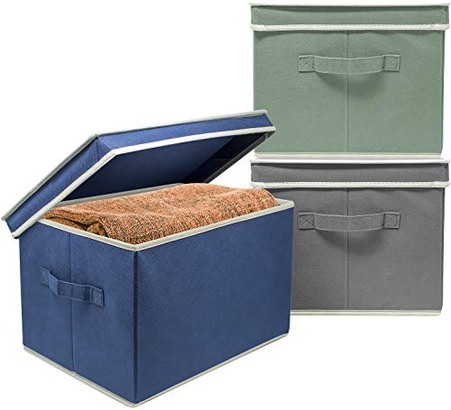 Sorbus Storage Bin Boxes with Lids - Fabric Baskets for Shelves, Closet, Home Office, Clothing, Kid Toys, and More, Set of 3 (Multi - Blue Gray Green)