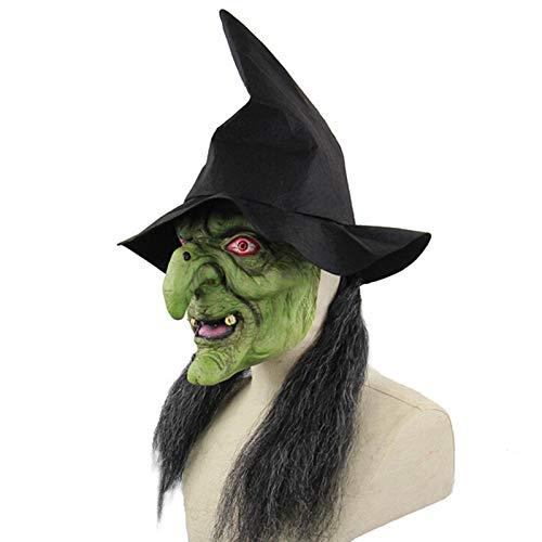 Careta De Bruja Vieja Para La Cabeza, Mscara De Bruja De Anciana - Disfraz De Cosplay De Terror Aterrador De Halloween, Tocado Accesorios De Disfraces, Bruja Verde De Halloween, Disfraz De Cosplay