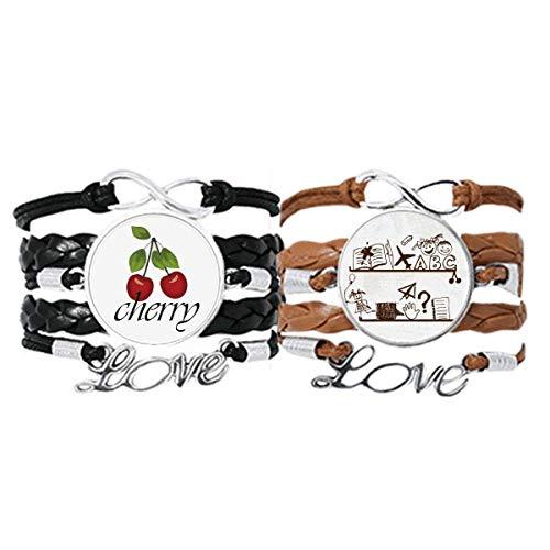 Kinder-Armband mit niedlicher Illustration im Bücherregal, Handschlaufe, Lederseil, Kirschen-Liebesarmband, Doppelset