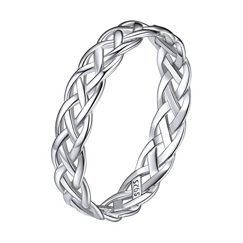 ChicSilver 925 Sterling Silver Ring for Women Men, White Gold Plated 4mm Celtic Knot Wedding Band Eternity Ring Size 8