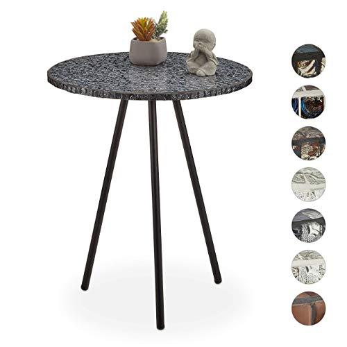 Relaxdays Beistelltisch Mosaik, runder Ziertisch, handgefertigtes Unikat, 3 Beine, Mosaiktisch, HxD: 50 x 41 cm, schwarz
