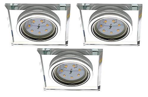 Trango 3er Pack Design LED Einbaustrahler TG6729S-03B Einbauleuchte, Deckenstrahler aus Kristall-Glas & Aluminium incl. 3x 3 Watt GU10 LED Leuchtmittel Deckenspots I Downlight I Bad Deckenleuchte