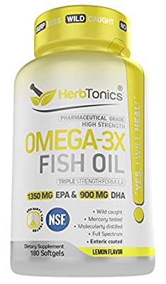 High Strength Omega 3 Fish Oil Supplement 3750MG (HIGH EPA 1350MG + DHA 900MG) Fish Oil Omega 3 Pills Triple Strength Burpless Wild Caught Fish Oil Capsules Heart Health Joint Support (180)