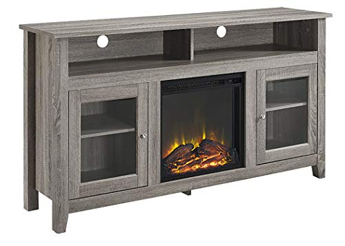 WE Furniture 58 Driftwood Highboy Fireplace Modern Media TV Stand Console for Flat Screen TV's Up to 65 Entertainment Center