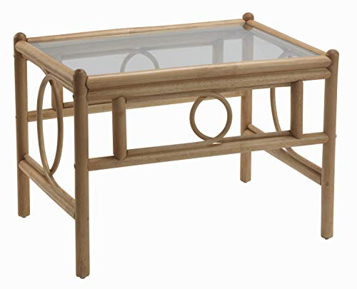 Desser Madrid Coffee Table with Toughened Glass Top – Sturdy Light Oak Cane Pole Frame Indoor Conservatory or Living Room Furniture - H48cm x W67cm x D53cm