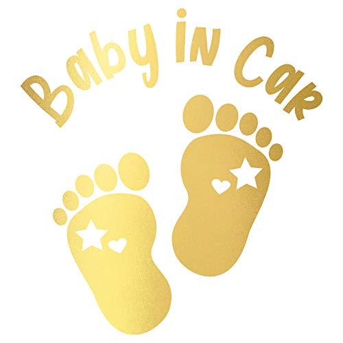 Baby in Car Aufkleber Autoaufkleber Sticker für Kfz Babyaufkleber Selbstklebend Wetterfest Wasserfest Vinyl Auto Zubehör K148 (Gold Metallic, Fußabdrücke)