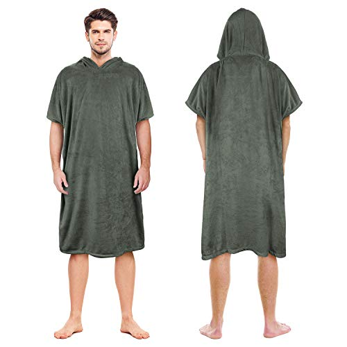 Surf Poncho Changing Towel Robe for Adults Men Women,Hooded...