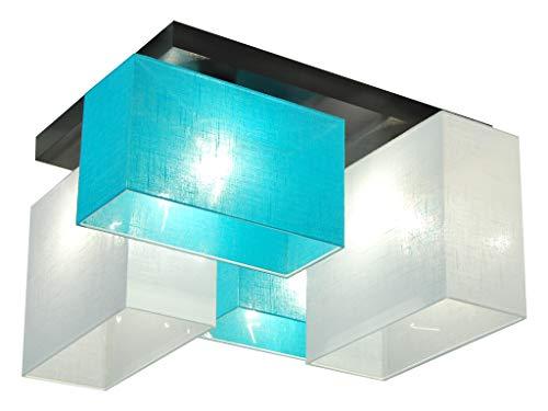 Deckenlampe - HausLeuchten JLS44TUWED - 4 Varianten, Deckenleuchte, Leuchte, Lampe, 4-flammig, Massivholz (TÜRKIS / WEIß)