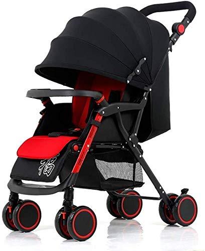 Poppenwagen kinderwagen, zuigelingen wagen licht opvouwbaar 4-wiel-onderstel Newborn trolley Pusher in hoogte verstelbaar babyartikel zwart