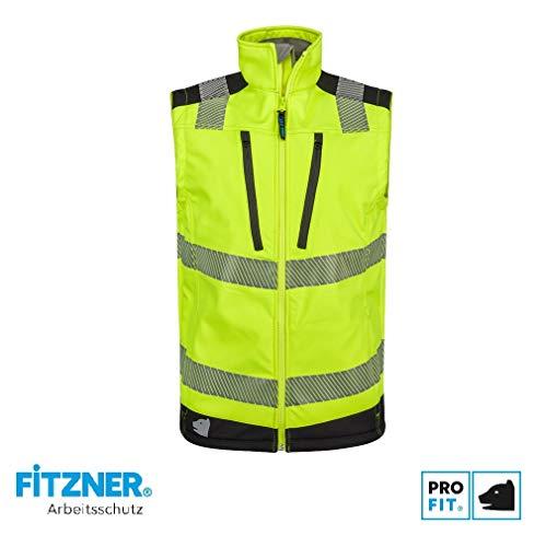 PRO FIT | Warnschutz Softshell-Weste | Neongelb/schwarz | Größe S | EN ISO 20471:2013 Klasse 2