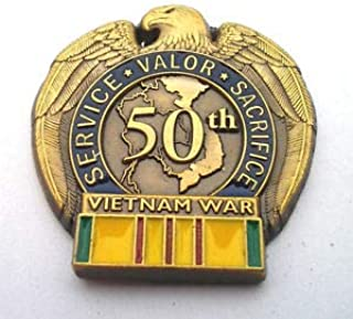 Pin for Backpacks - 50TH Anniversary Vietnam WAR Military Veteran Hat Pin - Accessories for Clothes