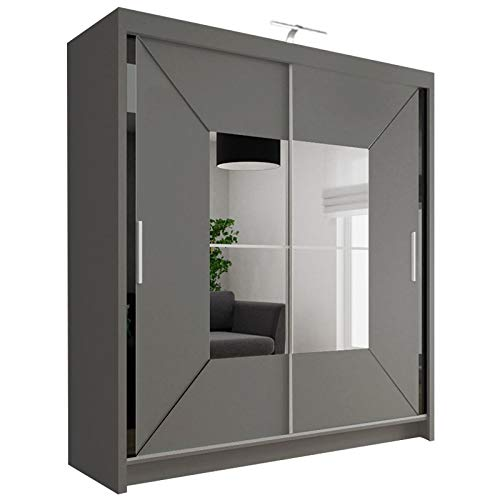 Modern Double Sliding Door Wardrobe NICOLE with LED LIGHT (Grey, 150cm)