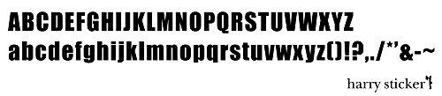 HARRY STICKER ウォールステッカー 貼ってはがせる 転写式 太い文字のアルファベット (bold style alphabet) ブラック M 約45×45cm