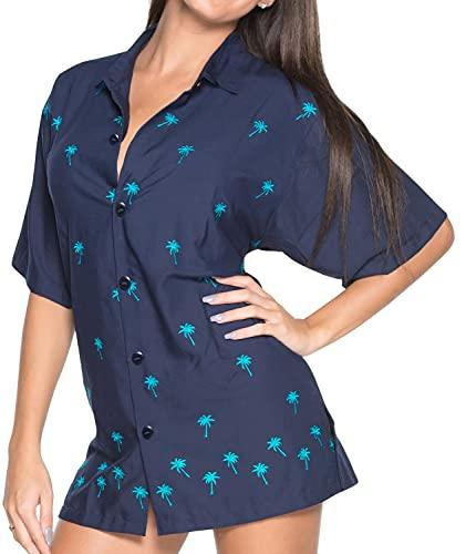 Relajada Vacaciones de Camisa Hawaiana Blusas de Las Mujeres botón se Corta Las Mangas Marino M