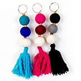 V Jane Design Boho Car Diffuser, Wool ball oil diffuser for car charm (Pack of 3!) Boho keychains car diffuser charm with tassels for car diffusers for essential oils with boho car accessories style.