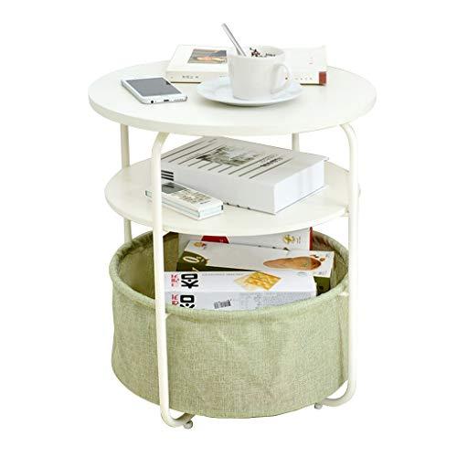 HSLXD.SMZZ Haushalt Multi-Layer-Multifunktions-Sofa Beistelltisch Eisen Kunst Tuch Lagerung Tischdekoration Telefontisch Tischlampe Tisch Couchtisch,Grün