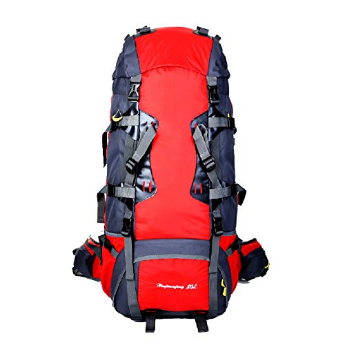Bolsa de alpinismo 80L de gran capacidad para exteriores, sistema de mochila profesional meníngeo impermeable de gran capacidad, mochila para exteriores-red
