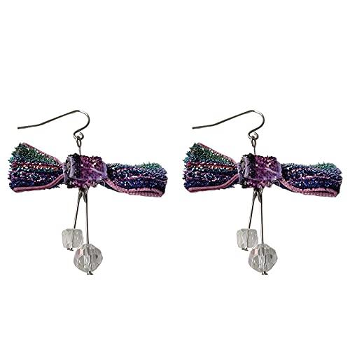Pequeños Ganchos Para La Oreja De Bowknot De Color Fresco Y Dulce Pendientes Largos De Cristal Pendientes Simples De Moda