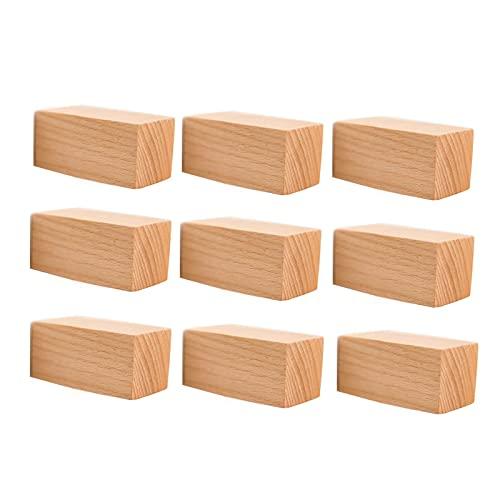 Percheros de pared Paquete de ganchos de pared de madera natural de 9 - gancho montado en la pared Abrigos de madera decorativos hechos a mano, artículos de sombrero para colgar, bolsa, toalla, abrigo