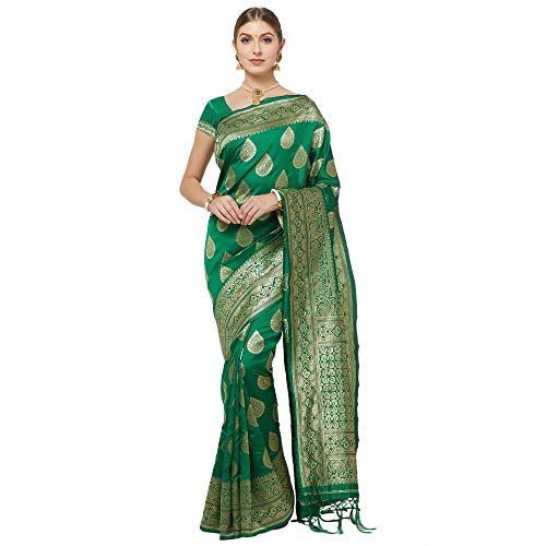 IDIKA Women's Banarasi Art Silk Saree With Blouse Piece (IDIKA_Multicolor)
