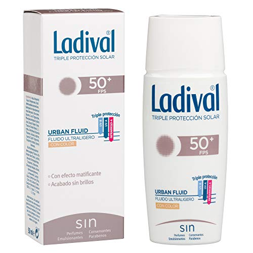 Ladival Urban Fluid Protector Solar con Color - Oil Free - FPS 50+, 50 ml