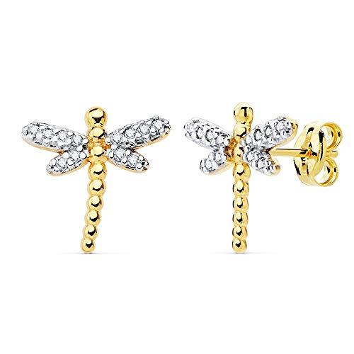 Pendientes oro bicolor 18k mujer 12mm. libélula detalles alas circonitas cierre presión