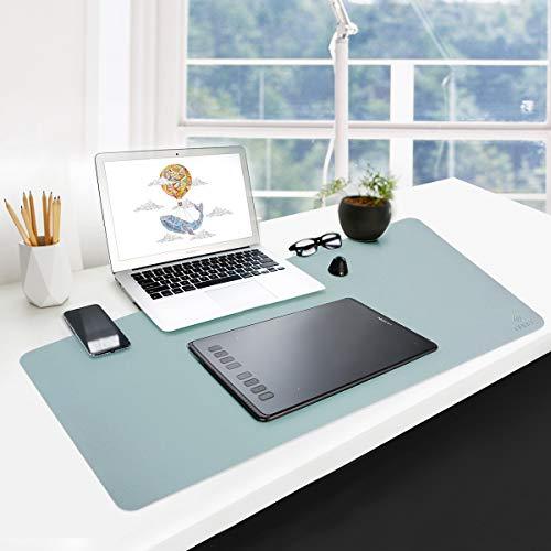 GUBEE PU Cuero Almohadilla de Escritorio de Oficina Multifuncional,Impermeable Antideslizante Anti-Sucio Alfombrilla de ratón para Oficina, hogar y Viajes-Size 800x400x2mm (Azul)