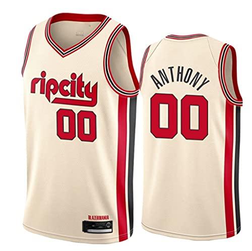 LSJ-ZZ Jersey de Baloncesto NBA Blazers # 00 Carmelo Anthony Jersey Bordado Retro, Tela Fresca Transpirable, Uniforme de fanático de Baloncesto,Beige,L