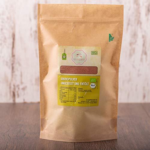 süssundclever.de® Bio Kakao Pulver | 1 kg | reines Kakaopulver, ungesüsst | stark entölt | hochwertiges Naturprodukt | plastikfrei und ökologisch-nachhaltig abgepackt