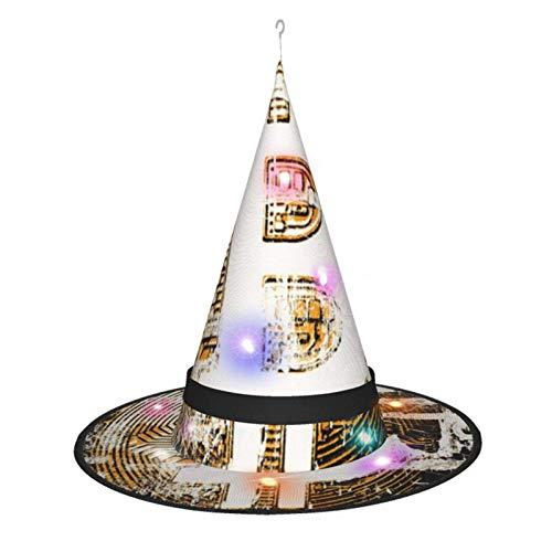 Sombrero de Bruja de Halloween para Mujer, Gorra de Moneda Retro con bit de Bitcoin para Fiesta, Disfraz de Cosplay, Accesorio Diario