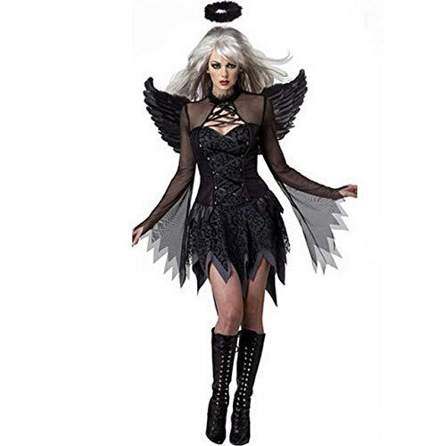 QLQGY Halloween Zwarte Duivel Cosplay Kostuum Voor Vrouwen Vampier Witte Engel Jurk met Vleugels Volwassen Sexy Party Heks Kostuums Meisje