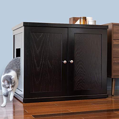 THE REFINED FELINE Cat Litter Box Enclosure Cabinet, Hidden Litter Tray Cat Furniture, Large + XLarge, Modern Style, Espresso Color