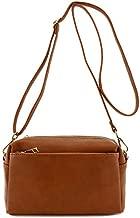Small Triple Zip Crossbody Bag (Saddle Brown)
